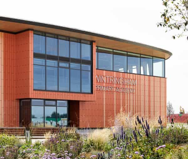 The glazed terracotta-clad exterior of Wintringham primary academy.