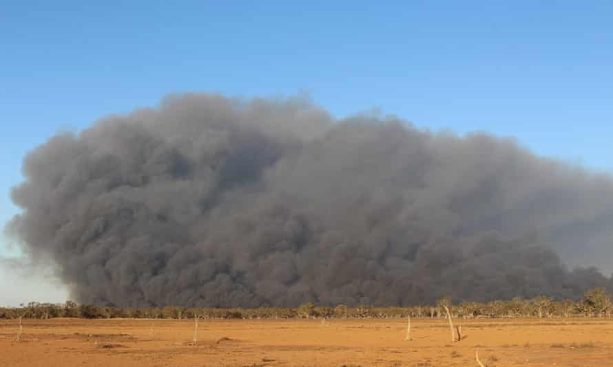 Smoke rises from a bushfire at Macquarie Marshes in central north-west New South Wales.