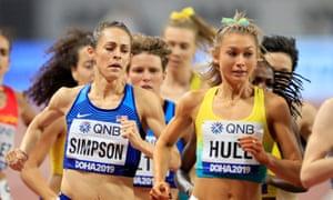 Jenny Simpson running in a 1500m heat