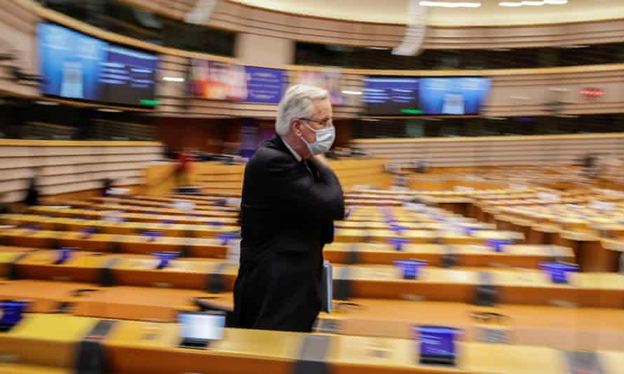 Michel Barnier leaves the European parliament in Brussels, Belgium.