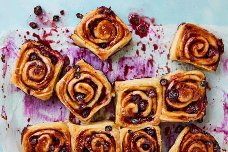 Salty-sweet treat: Ruby Tandoh's sticky blueberry miso buns.