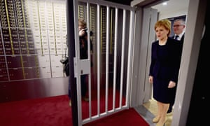 Scotland's First Minister, Nicola Sturgeon, officially opens Scotlands first independent safe deposit box service in Glasgow on February 19.