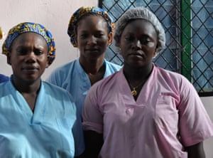 Anita Louanga, assistant midwife, Zouley Mahamat, matron, and Evangeline Ngogbe, midwife, at the MSF clinic in PK5, Bangui