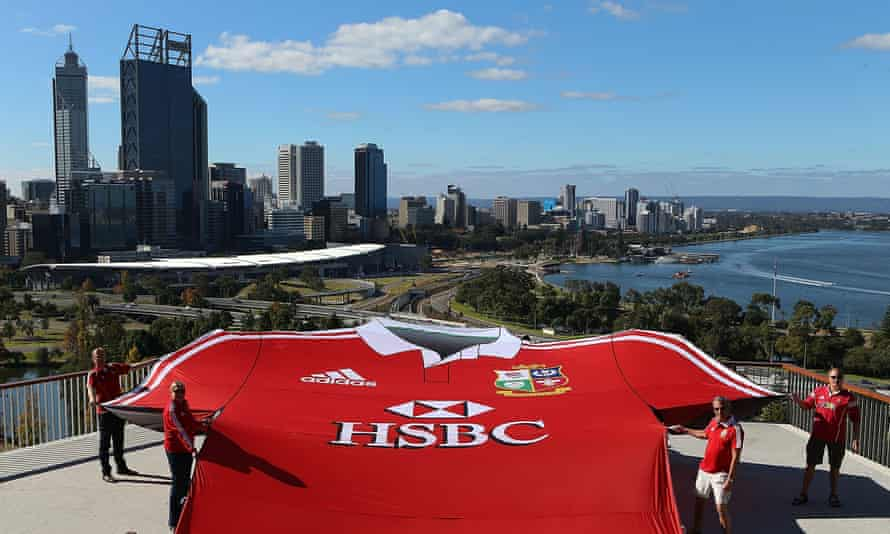 British & Irish Lions fans unveil a giant shirt in Perth during the last Lions tour in Australia, held in 2013.