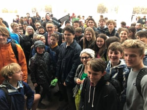 Australian Greens leader Richard Di Natale with students from the Big School Walkout for Climate Action