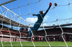 Petr Cech fails to stop a free-kick by man of the match Philippe Coutinho