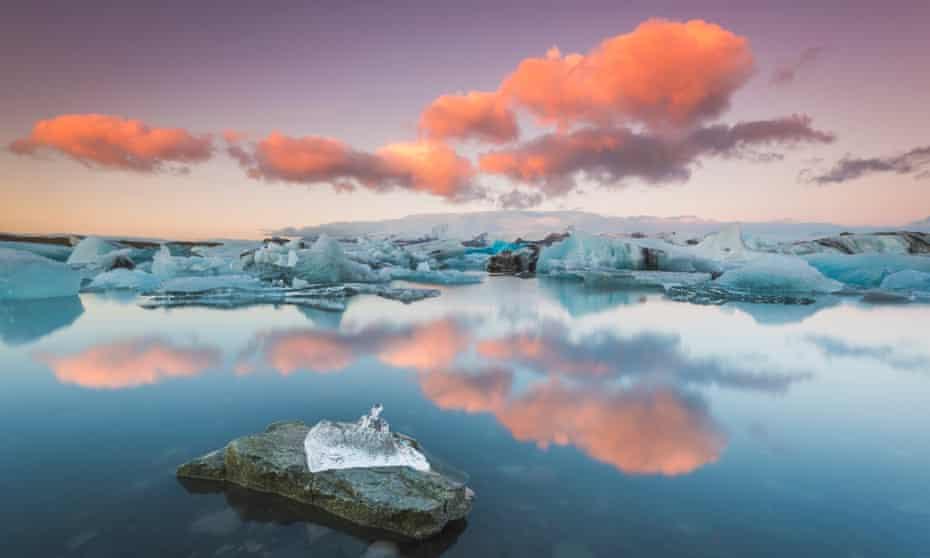 Jökulsárlón glacial lagoon in Iceland at sunset.