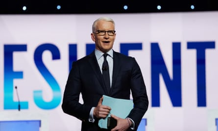 CNN anchor Anderson Cooper talks to the audience before the start of the fourth U.S. Democratic presidential candidates 2020 election debate at Otterbein University in Westerville, Ohio U.S., October 15, 2019. REUTERS/Shannon Stapleton