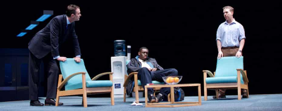 Richard Lintern, Ivan Oyik and Thomas Coombes in Blue/Orange, with movement direction by Malaolu at Birmingham Rep.