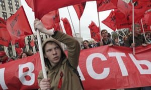 Communist party supporters protest in Moscow against Vladimir Putin's regime.
