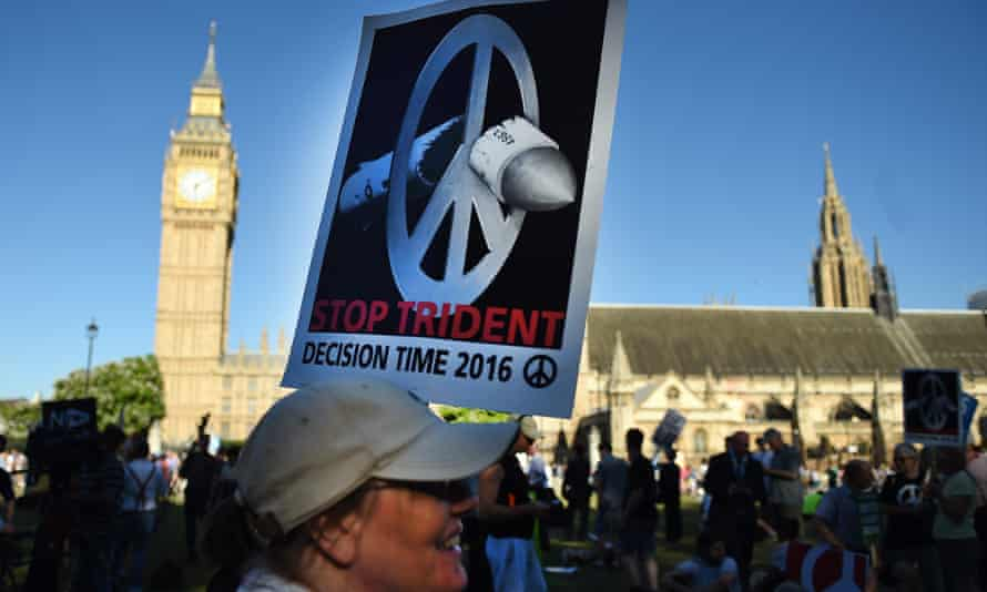 Anti-Trident protesters outside the House of Commons on Monday
