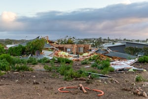Damaged buildings in Kalbarri, Australia.