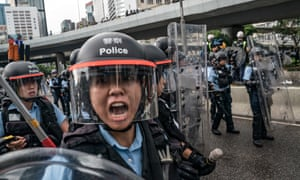 Thousands of pro-democracy protesters faced off with riot police on Monday during the 22nd anniversary of Hong Kong's return to Chinese rule.