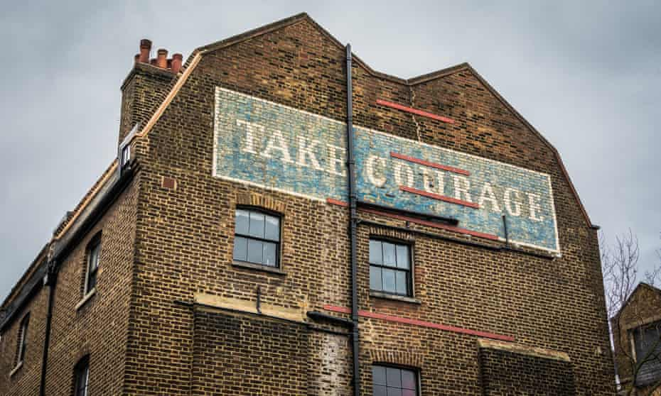 The Take Courage sign near London Bridge station