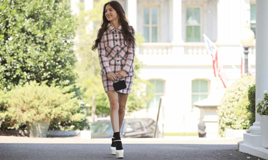 Pop star Olivia Rodrigo wear a vintage Chanel skirt suit to the White House in July