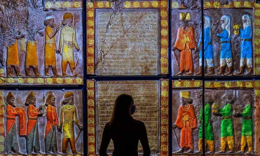 A projection of Tribute to Ahuramazda (359-338 BC) at the V&A's Epic Iran exhibition.