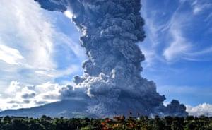 Sumatra, IndonesiaMount Sinabung spews smoke near Tiga Pancur Village, Karo, blowing volcanic ash more than 7,000 meters into the air.
