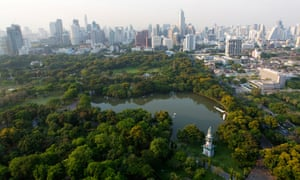 City skyline with Lumphini Park, the Green Lung of Bangkok
