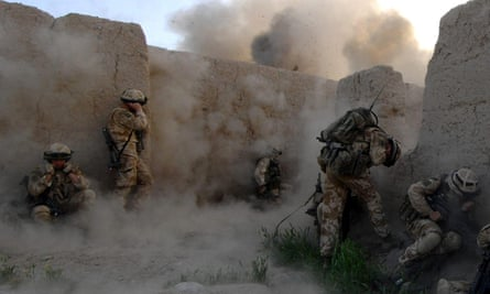 Royal Marines during a clash with Taliban forces in Sangin, Afghanistan.