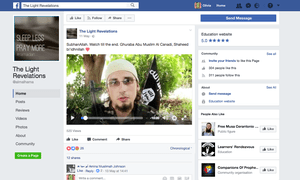 Facebook page featuring a recruitment video focused on a Canadian jihadi with Isis flag in the background. When reported, Facebook did not take the page down.