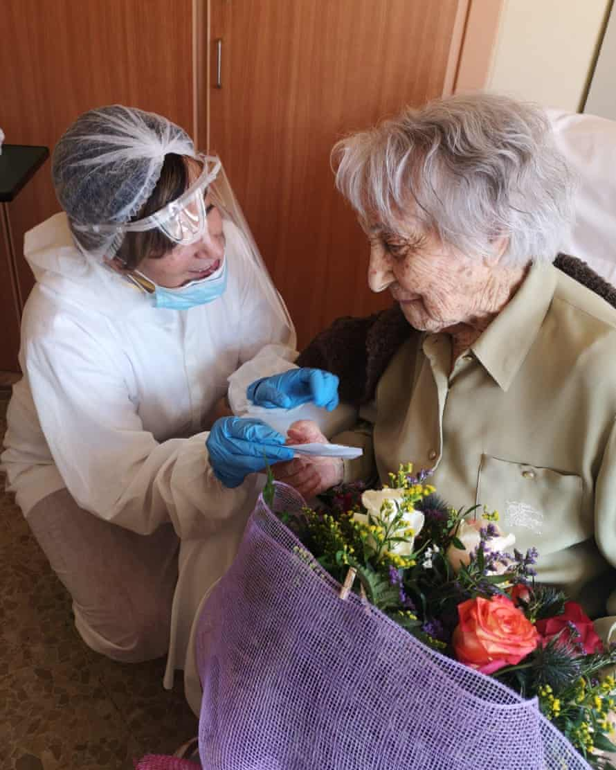 Maria Branyas at her care home in Spain.
