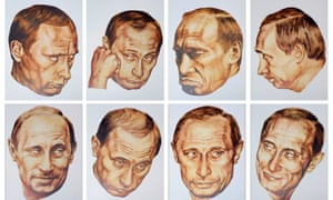 COMBINATION OF PORTRAITS OF RUSSIAN PRESIDENT PUTIN FOR A POP-ART  CALENDAR.<br>A combination picture shows various portraits of Russian President  Vladimir Putin draw by artist Dmitry Vrubel and his wife Vika Timofeeva  for a pop-art calendar shown at the artists' flat in Moscow December 5,  2001. The calendar is not a comercial project and was completed by the  artists from pictures that appeared in Russian newspapers and  magazines. REUTERS/William Webster    WAW/AA - RTRQ39K