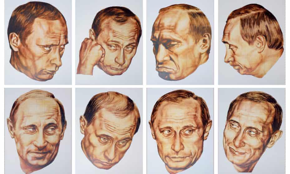 COMBINATION OF PORTRAITS OF RUSSIAN PRESIDENT PUTIN