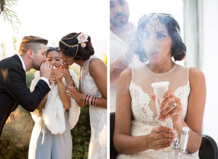 Left: Jeff and Serena wanted to help de-stigmatize weed by having it prominent at their wedding. Right: Serena takes a hit while getting ready.