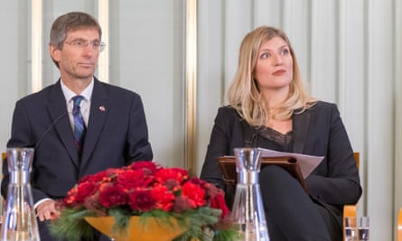Tilman Ruff, Australian physician and co-president of Ippnw (International Physicians for the Prevention of Nuclear War), with Beatrice Fihn, executive director of International Campaign to Abolish Nuclear Weapons (Ican).