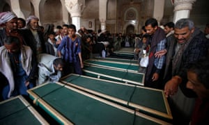 A funeral for people killed by an airstrike in the north-western province of Hajjah earlier this month
