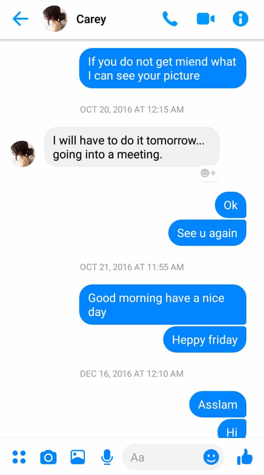 Carey Ferrante's Facebook Messenger chat