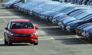 Opel cars being prepared for distribution at Vauxhall's production plant in Ellesmere Port