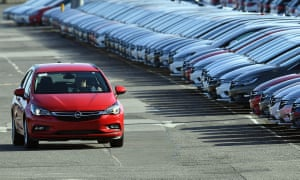 Cars being prepared for distribution at Vauxhall's Ellesmere Port production plant.