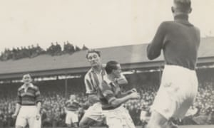 Arthur Turner, third from right, playing for Colchester United at their Layer Road ground against Bradford (Park Avenue) AFC in the fourth round of the FA Cup in 1948.