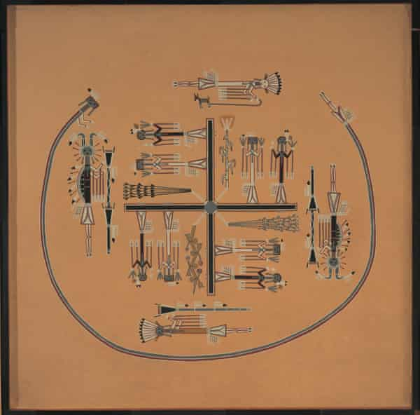 Sand painting by the Navajo artist and medicine man Fred Stevens, preserved for the Horniman Museum by David Bolton.