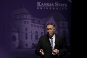 Secretary of State Mike Pompeo answers a question from an audience member after giving a speech at Kansas State University in September.