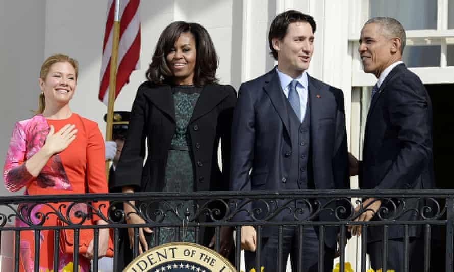 Sophie Grégoire Trudeau, Michelle Obama, Justin Trudeau and Barack Obama in Washintgon on 10 March 2016.