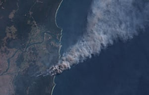 Satellite image of bushfires near Yamba in New South Wales, Australia, on 8 September 2019.