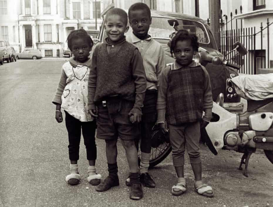 A group of children on Basing Street in west London, 1969.