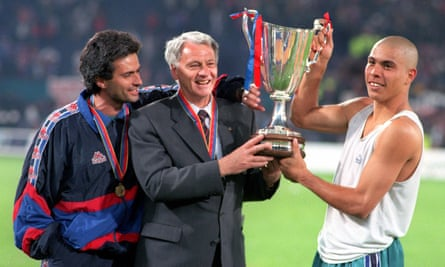 Bobby Robson with José Mourinho (left) and Ronaldo after winning the European Cup Winners Cup with Barcelona.