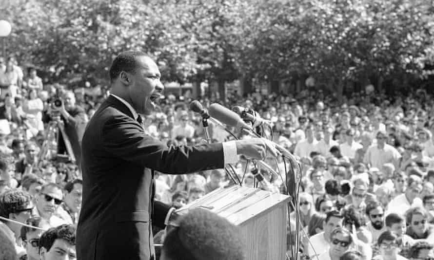 Martin Luther King speaking in 1967 in California