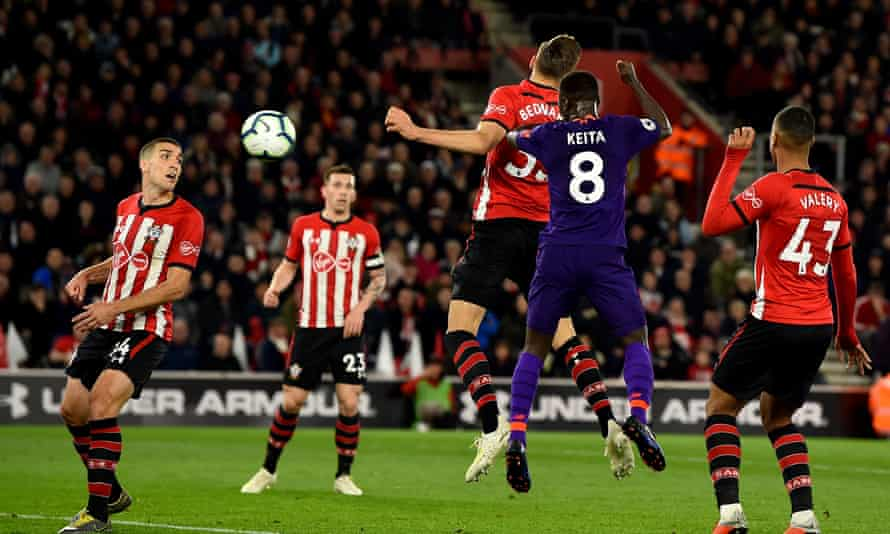 Naby Keita heads in the equaliser, his first goal for Liverpool