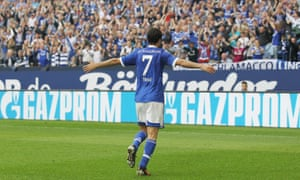 Raul celebrates after scoring against Hertha Berlin in 2012.