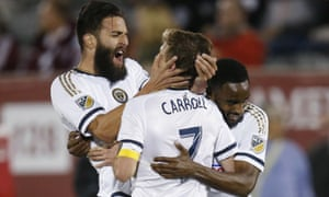Philadelphia Union celebrate their late equalizer against the Colorado Rapids