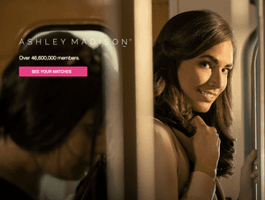 The new homepage of Ashley Madison.