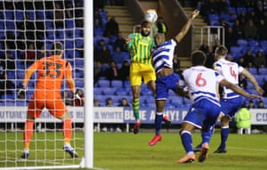 Kyle Bartley of West Bromwich Albion scores his sides second goal.