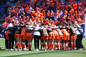 The Netherlands players form a team huddle after their 1-0 win over New Zealand.