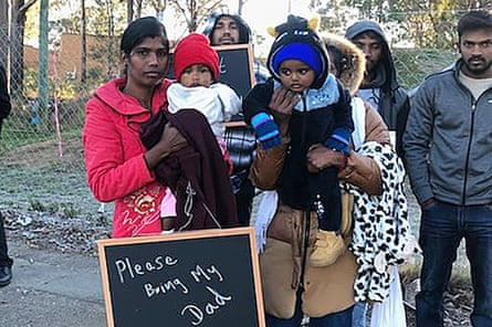 Thileepan's wife and daughter outside Villawood detention centre