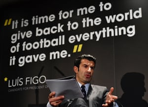 Luis Figo at the launch of his manifesto in February 2015.