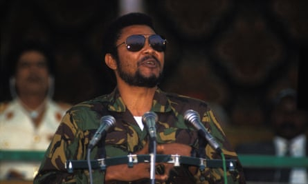 Jerry Rawlings in military uniform in 1987